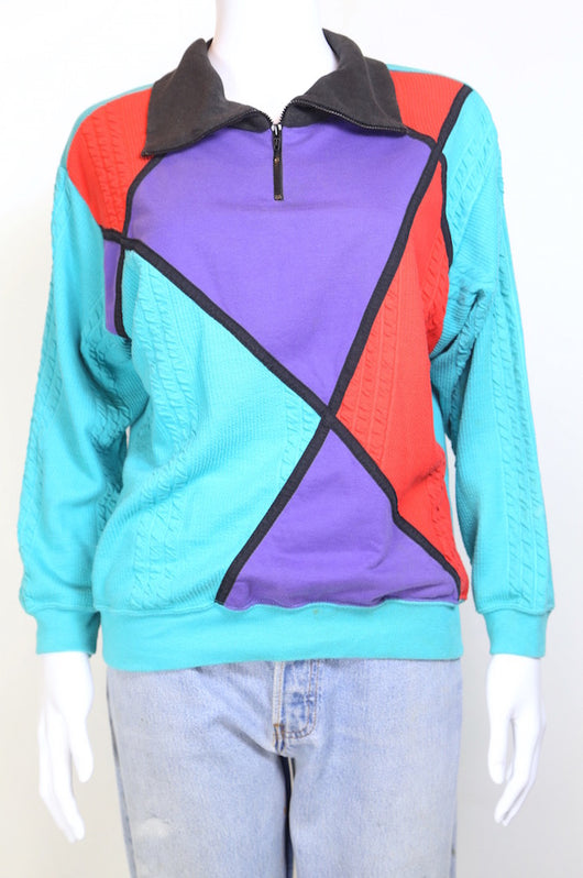 1980s Women's Panelled Sweatshirt - Multi M