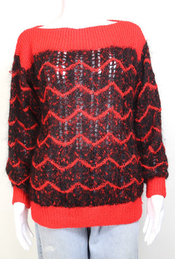 1980s Women's Abstract Knitted Jumper - Multi M