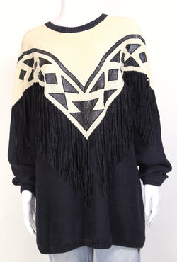 1980s Women's Tassel Knitted Jumper - Black M