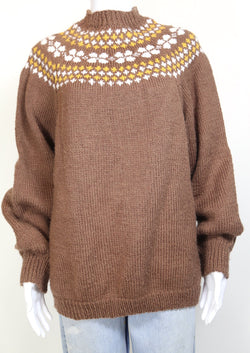 1990s Women's Icelandic Knit Jumper - Brown L