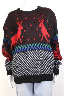 1990s Women's Reindeer Knitted Jumper - Multi L