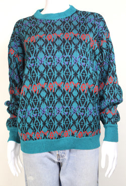 1990s Wrangler Women's Abstract Knitted Jumper - Multi M