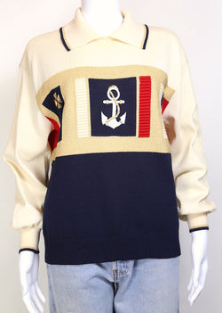 1980s Women's Nautical Collared Jumper - Multi S