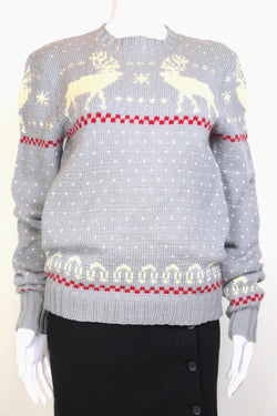 1990s Women's Reindeer Knitted Jumper - Grey S