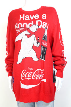 2000s Women's Coca-Cola Print Jumper - Red L