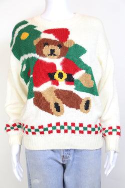 1990s XMAS Christmas Women's Knit Jumper - White M