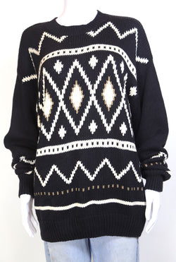 1980s Women's Abstract Knit Jumper - Black L