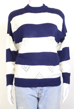 1980s Women's Knitted Striped Jumper - Multi S