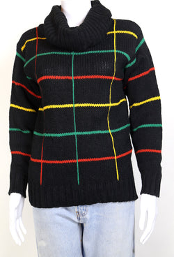 1980s Women's Grid Knitted Jumper - Black XS