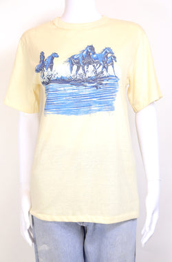 1980s Women's Wrangler Horse T-Shirt - Cream S