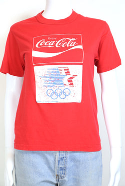 1980s Women's Coca-Cola T-Shirt - Red XS