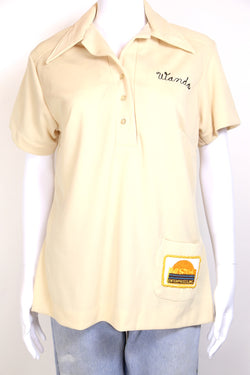 1970s Women's Bowling Polo Shirt - Cream L