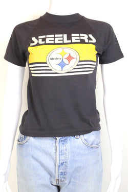 1980s Women's Steelers T-Shirt - Black XS