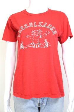 1980s Women's Champion Cheerleader T-Shirt - Red M