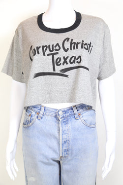 1990s Women's Cropped Print T-Shirt - Grey L