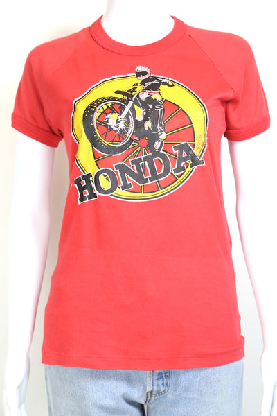 1990s Women's Honda Printed T-Shirt - Red S