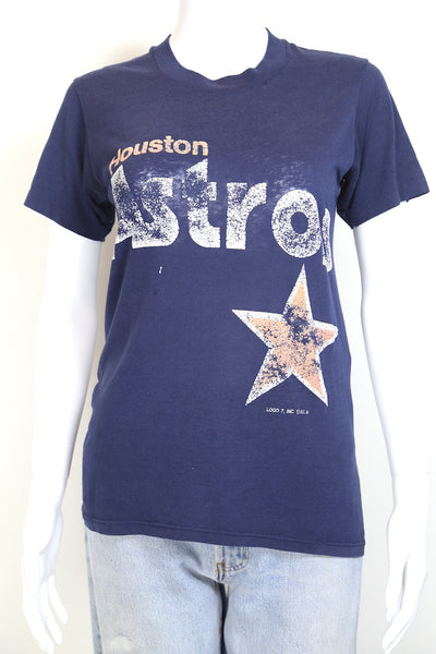 1980s Women's Houston Astros Baseball Print T-Shirt - Blue XS