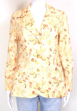 1970s Women's Floral Print Shirt - Yellow S