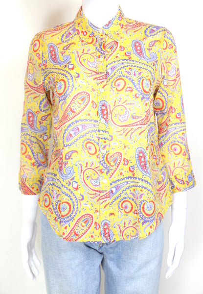 2000s Ralph Lauren Paisley Printed Shirt - Yellow S