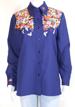 1970s Women's Embroidered Shirt - Blue L