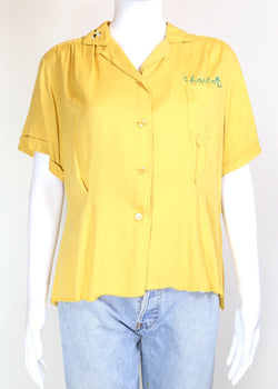 1950s Women's Bowling Shirt - Yellow S