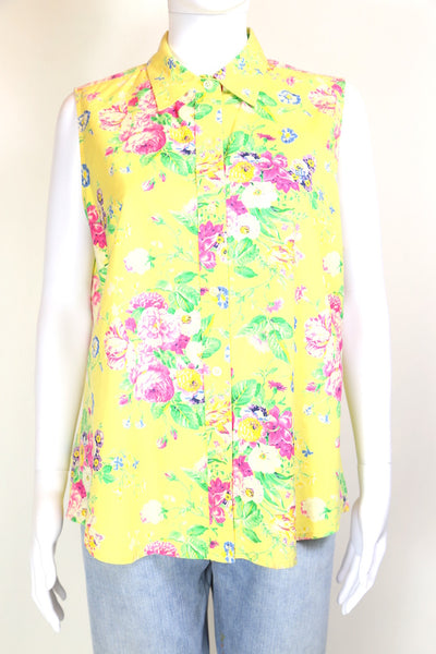 2000s Women's Ralph Lauren Floral Print Shirt - Yellow L