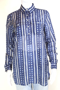 2000s Women's Striped Shirt - Blue S
