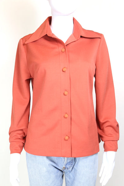 1970s Women's Plain Shirt - Orange S
