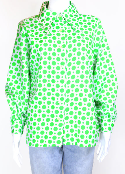 1970s Women's Polka Dot Print Shirt - Multi L