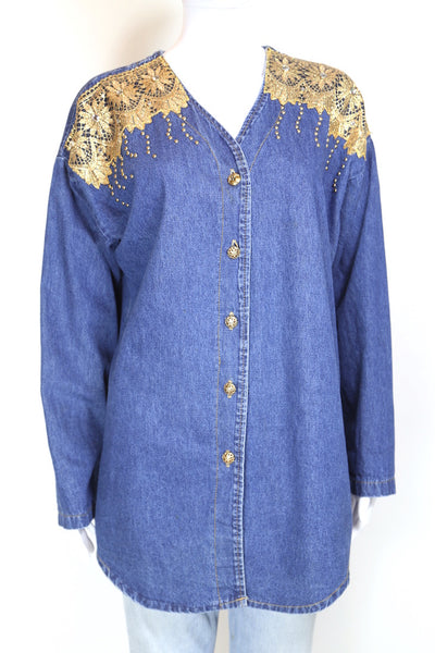 1980s Women's Denim Embellished Shirt - Blue L