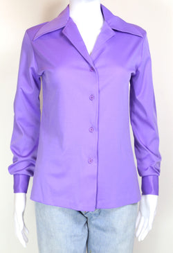1970s Women's Plain Shirt - Purple S