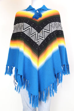 2000s Women's Abstract Knitted Poncho - Multi ONE SIZE