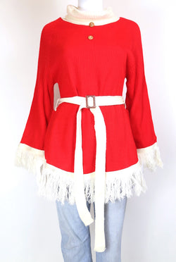 2000s Women's XMAS Christmas Tassel Jumper - Red S