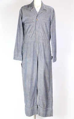 1950s Men's Denim Coveralls - Blue XXL