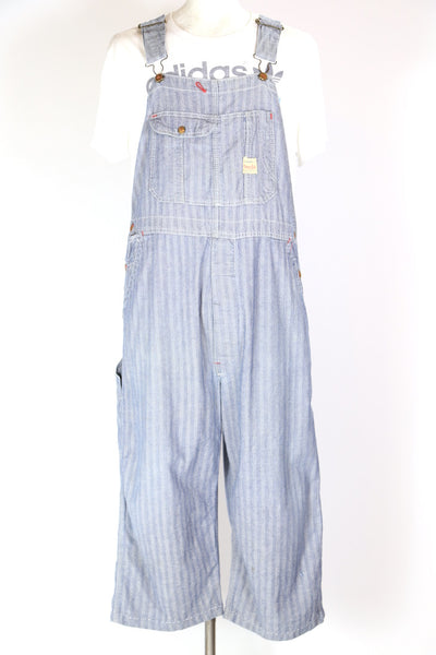 1950s Men's Striped Denim Dungarees - Blue XXL