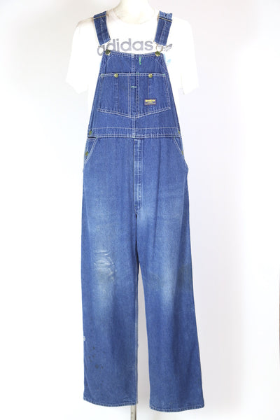 1980s Men's Denim Dungarees - Blue XL