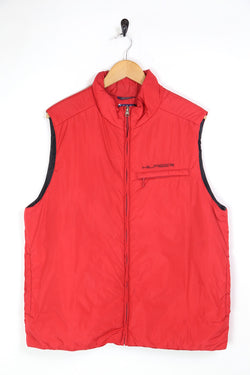 1990s Men's Tommy Hilfiger Badge Gilet - Red L