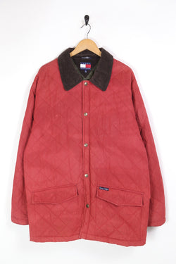 1990s Men's Tommy Hilfiger Quilted Jacket - Red XL