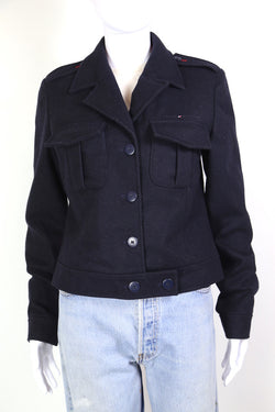 2000s Women's Tommy Hilfiger Cropped Jacket - Blue M