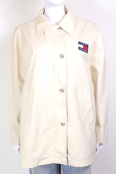 1990s Women's Tommy Hilfiger Badge Jacket - White M