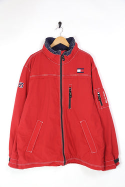 2000s Men's Tommy Hilfiger Badge Jacket - Red XXL