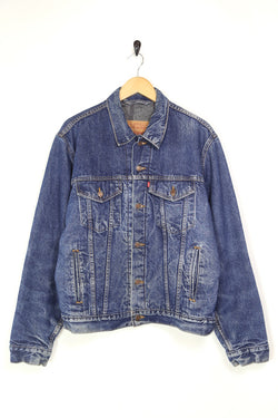 1980s Men's Levi's Lined Denim Trucker Jacket - Blue L