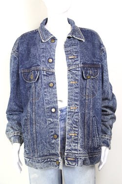 1980s Women's Lee Acid Wash Denim Jacket - Blue XL