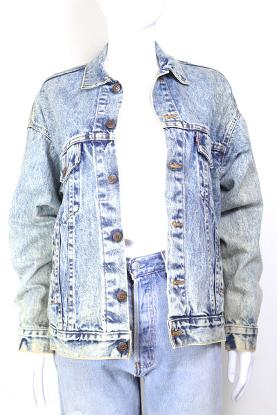 1980s Women's Levi's Acid Wash Denim Trucker Jacket - Blue S