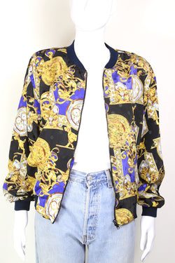 1990s Women's Baroque Chain Print Bomber Jacket - Multi S