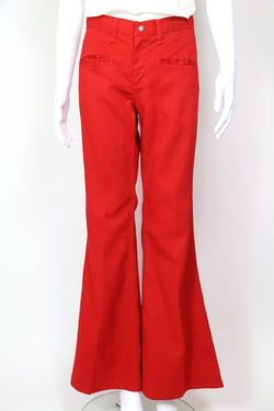 1970s Women's Maverick Flare Jeans - Red 32W