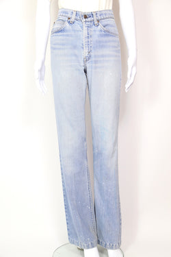 1970s Women's Levi's Orange Tab Straight Leg Jeans - Blue 28W