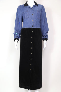 1990s Women's Maxi Denim Cord Dress - Blue S