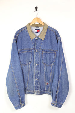 1990s Men's Tommy Hilfiger Denim Jacket - Blue XL