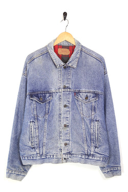 1980s Men's Levi's Lined Denim Trucker Jacket - Blue XL